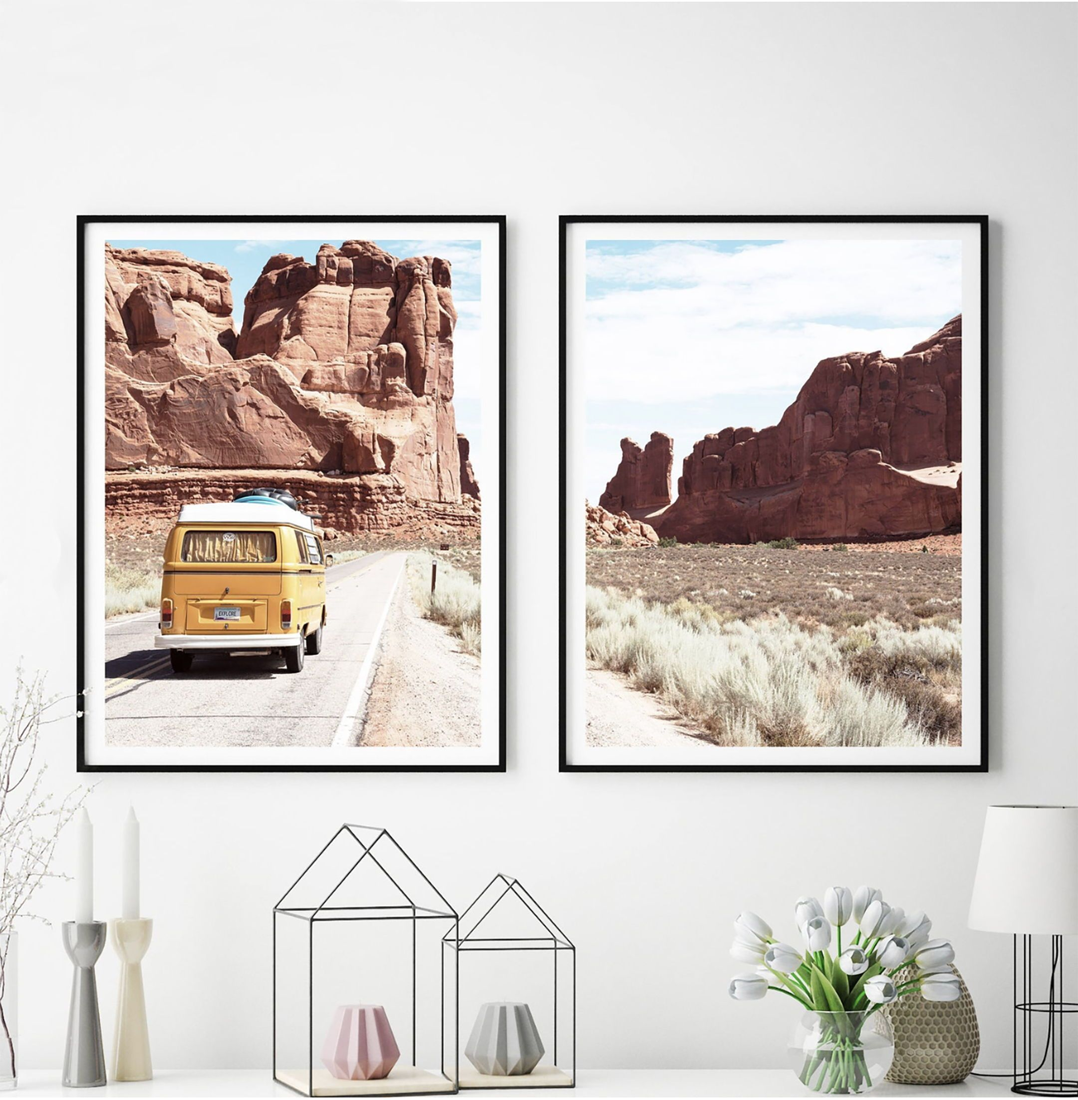 Set Of 2 Prints Retro Van Print Desert Wall Art Vw Automobile South Western Landscape Decor Printable Ar Landscape Decor Landscape Wall Art Printable Art