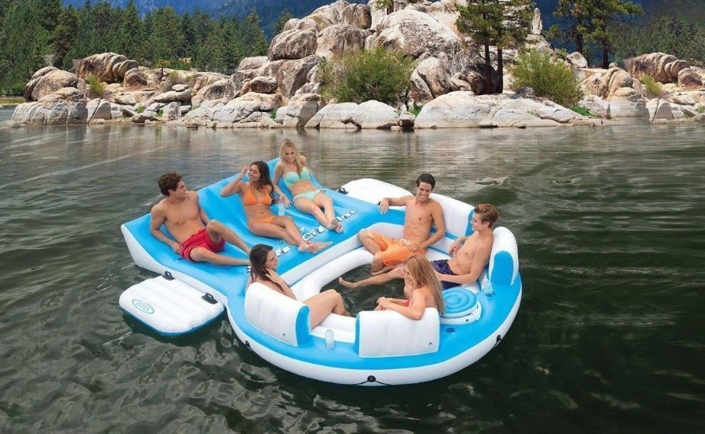 Large 6 Person Inflatable Floating Island Lounge Raft Oasis Lake Boat River Pool Inflatable Island Inflatable Pool Floats Inflatable Floating Island
