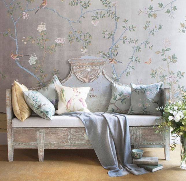 Asian Master Bedroom With Interior Wallpaper, High Ceiling, Paul Montgomery  Studio   Dunmore Chinoiserie Wallpaper, Silk Z