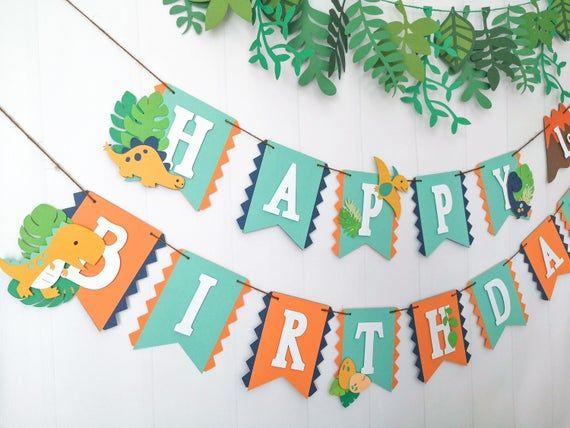 Dino Birthday Party Banner Dinosaur Party Supplies Orange Blue Dino Banner Boy Dinosaur Party Blue Green Dinosaur Boy Dino Party Trex
