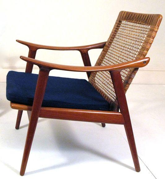 fredrik a kayser teak and cane armchair for vatne. Black Bedroom Furniture Sets. Home Design Ideas