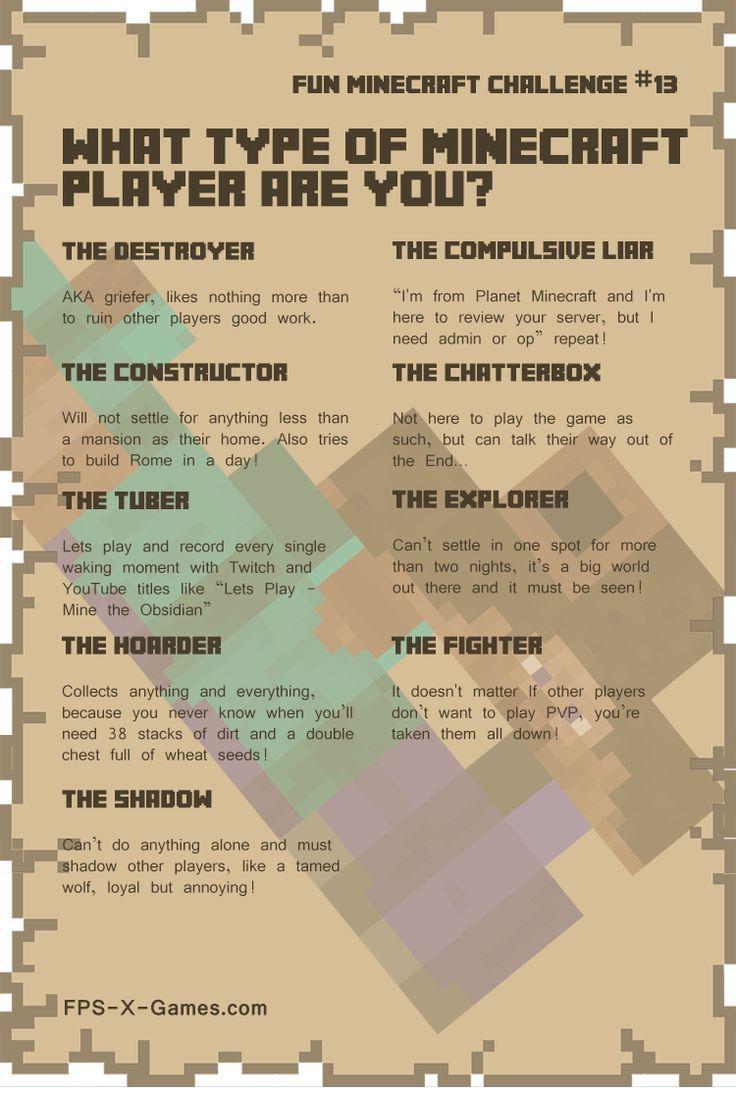 fun minecraft challenge no13 type of minecraft player minecraft