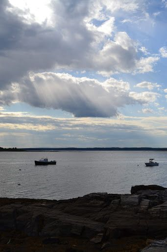 7/14/2011: Lovely sun ray striation in the clouds; Chebeague Island, Maine. ~ Blue Jay Bay