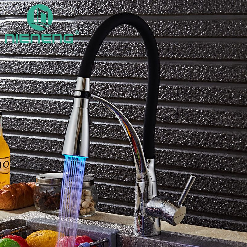 Nieneng Led Kitchen Sink Faucet Deck Mount Pull Out Dual Sprayer ...