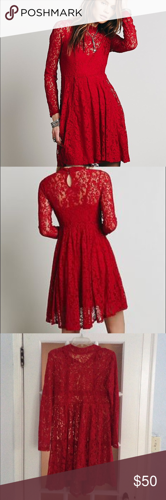 Free people red hearts delight shell only red lace dress long