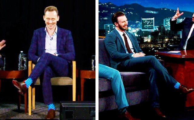 What's with the matching socks, boys?  via hiddlescheekbatch
