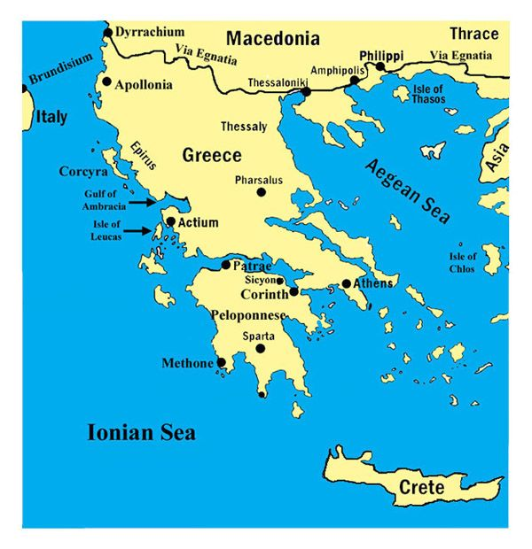 Ancient Greece Map With Cities.A Map Of Greece Showing The Ionian And Aegean Sea All The Cities In