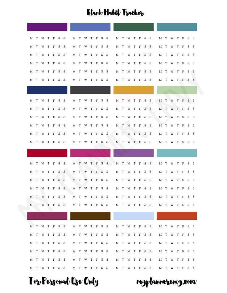 Blank Habit Tracker | My Planner Envy | Printable planner ...