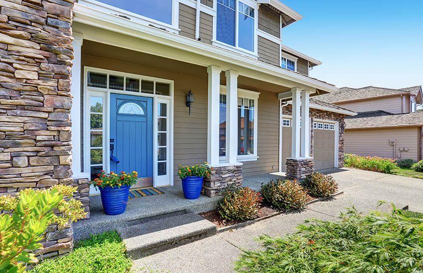 Brown House With Blue Door Front Door Colors Painted Front Doors House Exterior