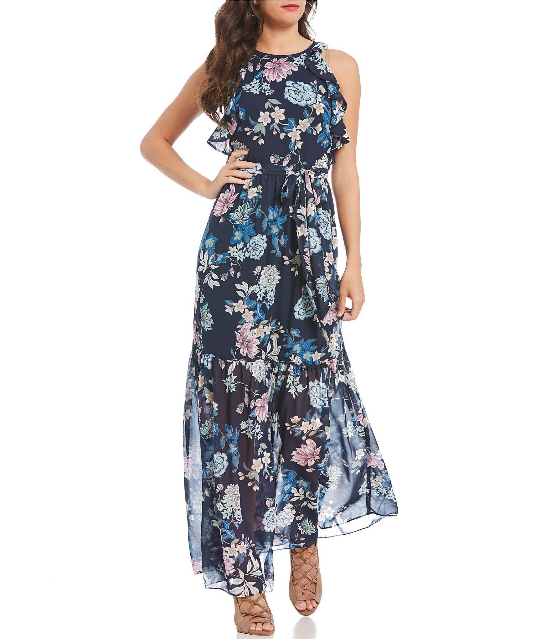 Vince Camuto Chiffon Floral Printed Ruffle Maxi Dress Dillards Maxi Dress Ruffled Maxi Dress Floral Chiffon [ 2040 x 1760 Pixel ]