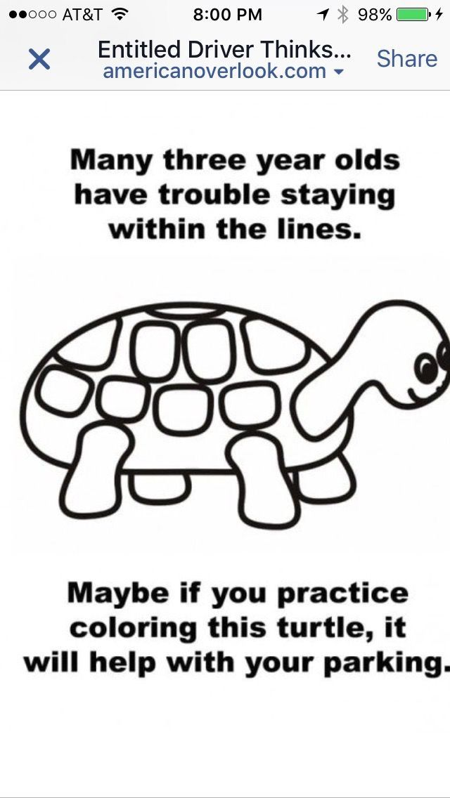 Pin By Jill Mcnally On Cartoons Funny Bad Parking Notes Bad Parking Turtle Coloring Pages