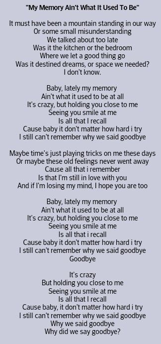 Concussion Problems Jason Aldean My Memory Ain T What It Used To Be My Love Song Country Music Lyrics Jason Aldean