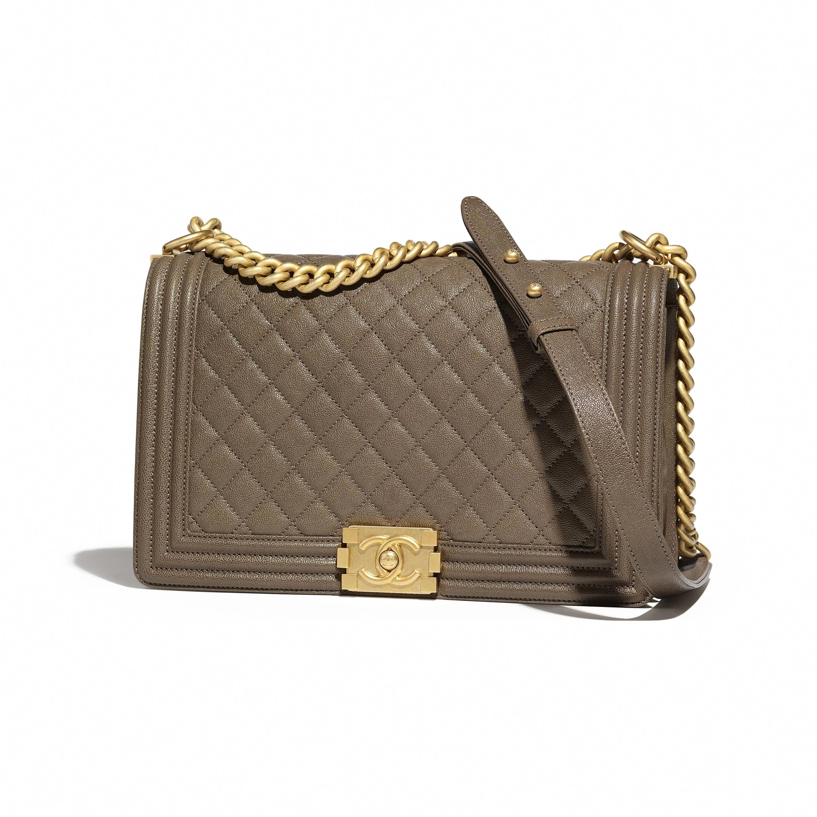 5e89b4ef3da76 Grained Calfskin   Gold-Tone Metal Khaki Large BOY CHANEL Handbag ...