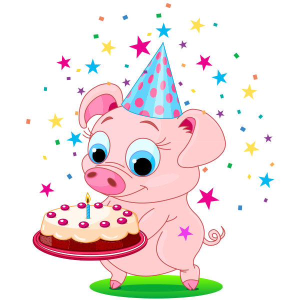 Birthday Piggy Happy birthday pig, Birthday cartoon, Pig