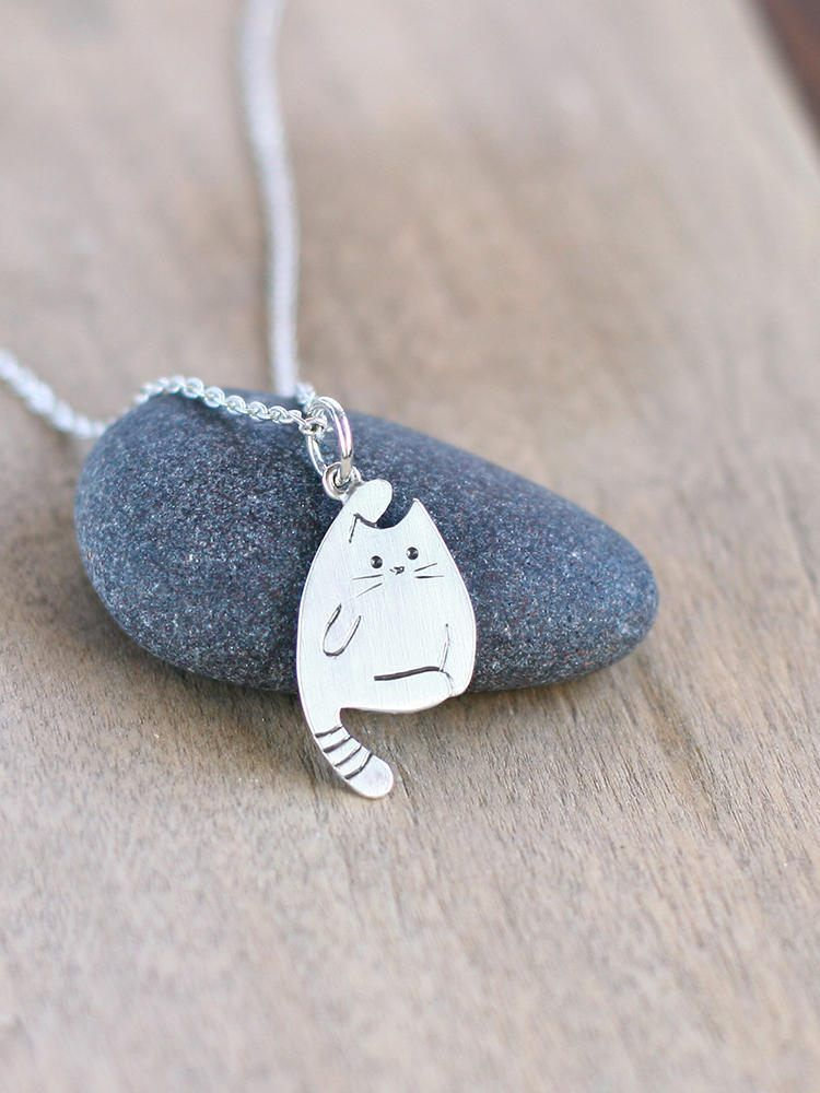 Cat necklace tiny necklace cat charm cat lover gift custom pet silver cat pendant sterling silver cat necklace tiny cat necklace kitty necklace mozeypictures Image collections