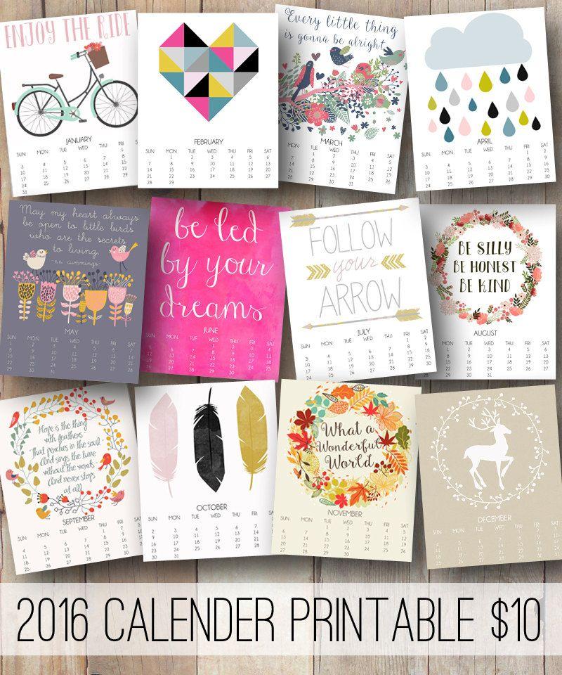 Inspirational Quotes Calendar : Printable monthly wall calendar with inspirational