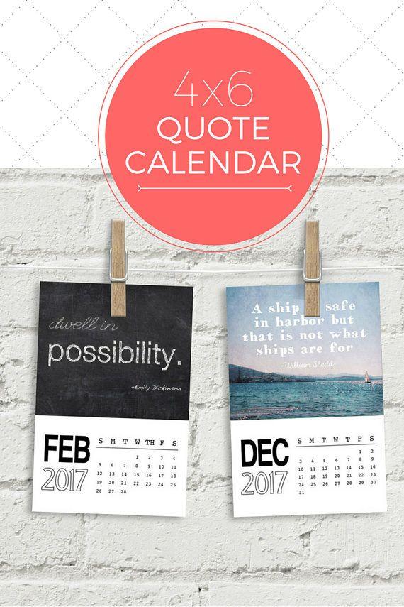 Inspirational Calendar 4x6 Desk Calendar Quotes Calendar