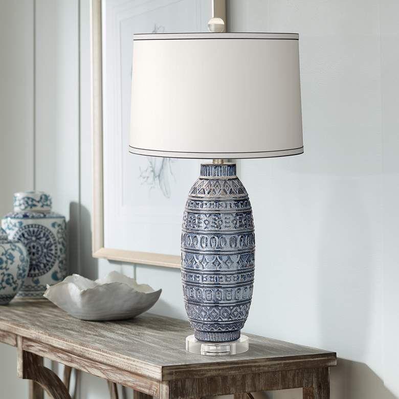 Cullen Blue Ceramic Table Lamp 40m56 Lamps Plus Glass Table Lamps Living Room Ceramic Table Lamps Ceramic Table