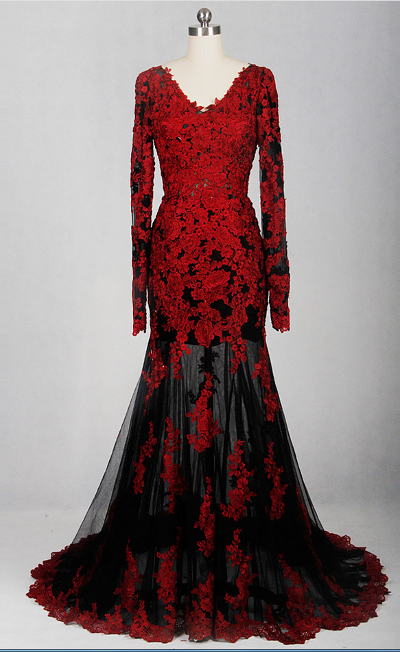 Red black perspective v-neck dress long-sleeved low-cut evening ...