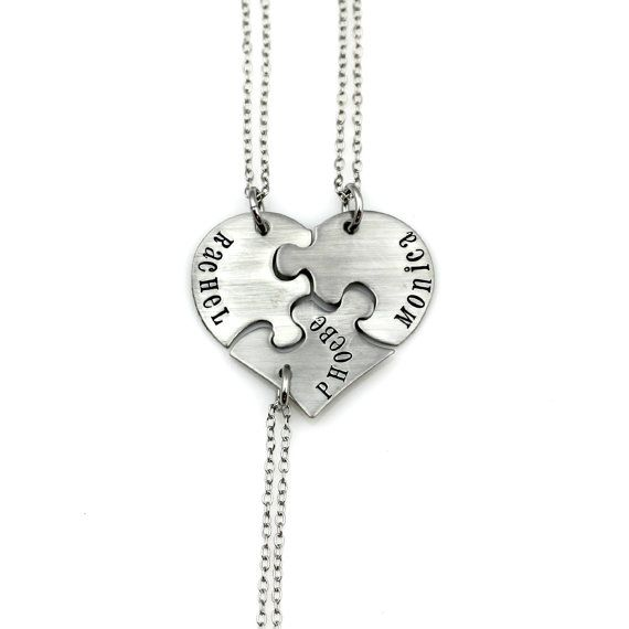 Set of 3 Best Friend Heart Necklace Personalized Sisters Gift