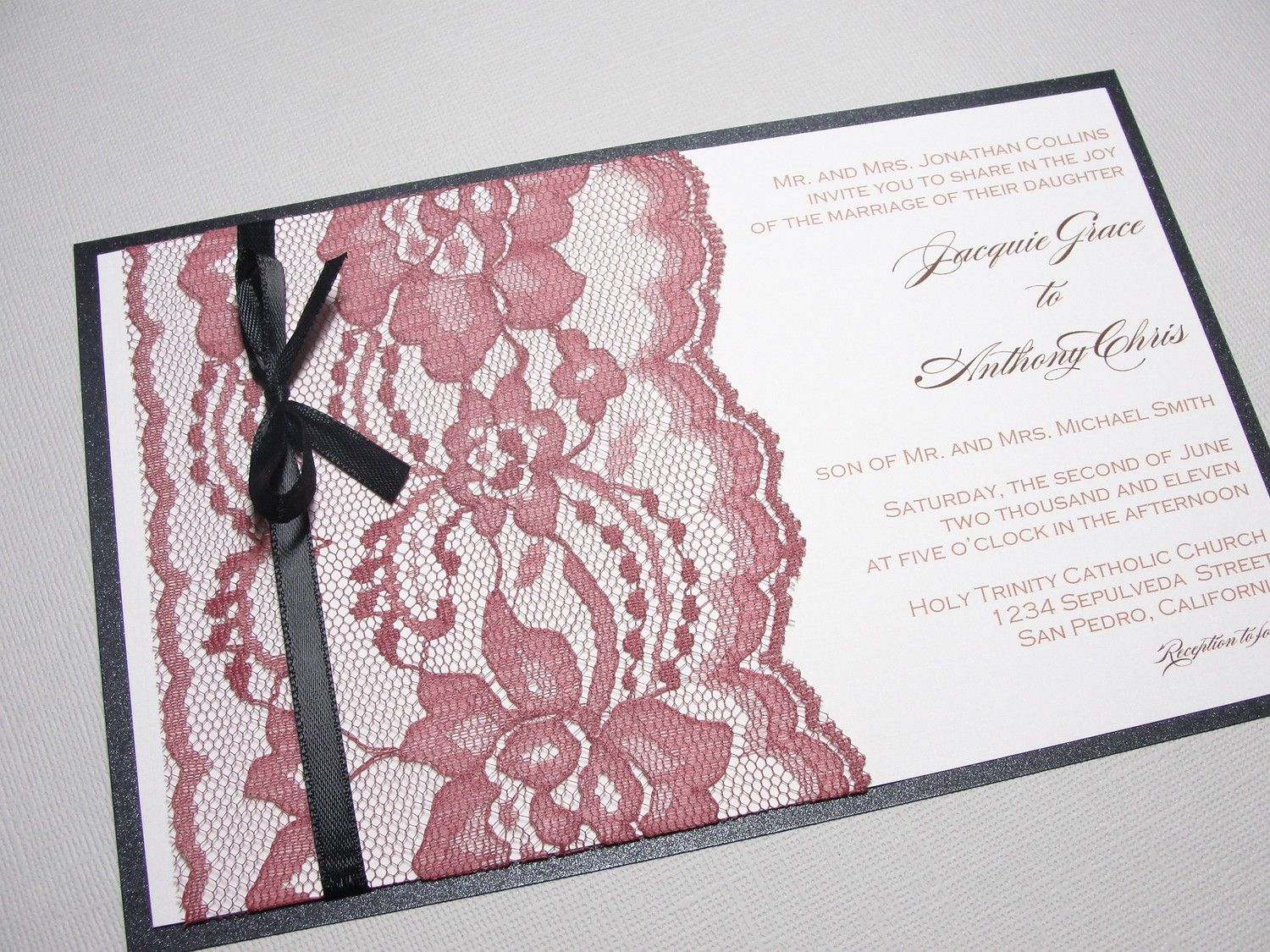 Lace Wedding Invitation with Bow