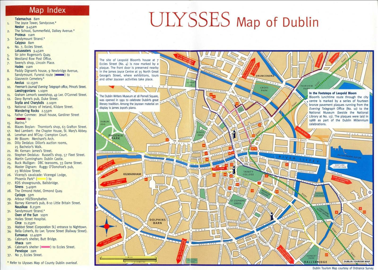 Map of Dublin crossreferenced with James Joyces Ulysses An