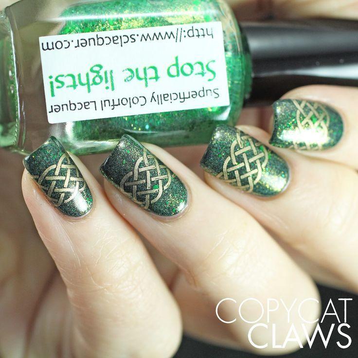 St. Patrick\'s Day Nail Stamping | gel nail design ideas | Pinterest