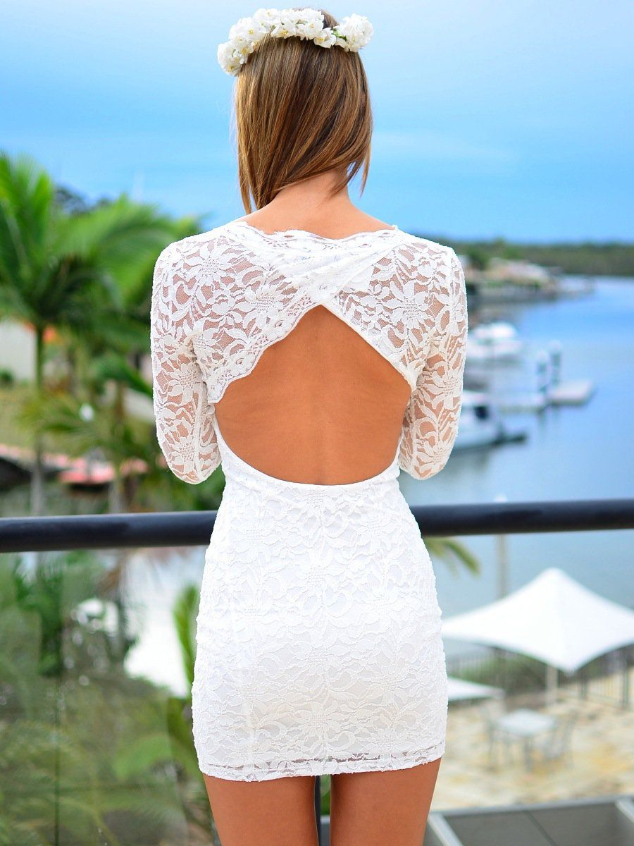 White Lace Long Sleeve Bodycon Dress With Cutout Back Lace Bodycon Dress Long Sleeve Dresses Mini Wedding Dresses [ 1200 x 900 Pixel ]