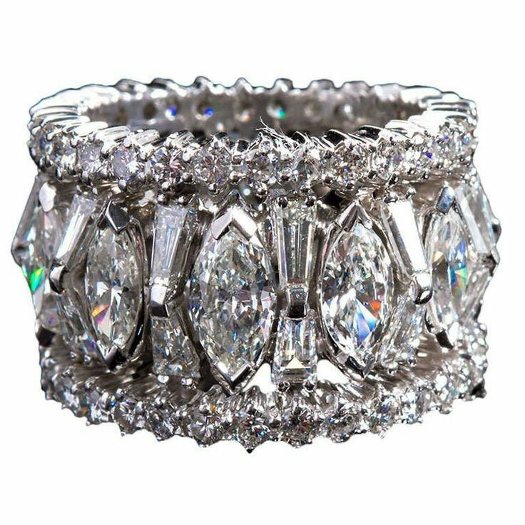 Details About Eternity Statement Band Ring 925 Sterling