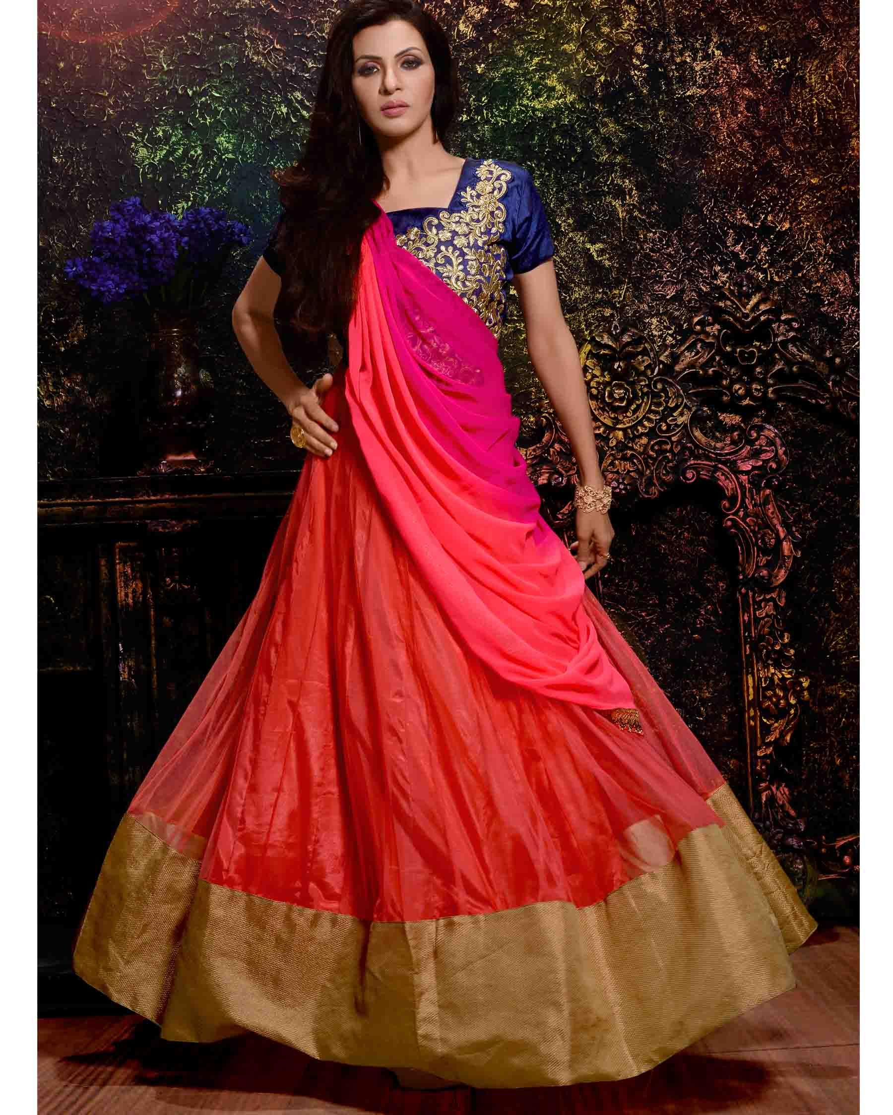 Orange, Blue & Pink ingenious Embroidered Net Bridal Designer Gown ...