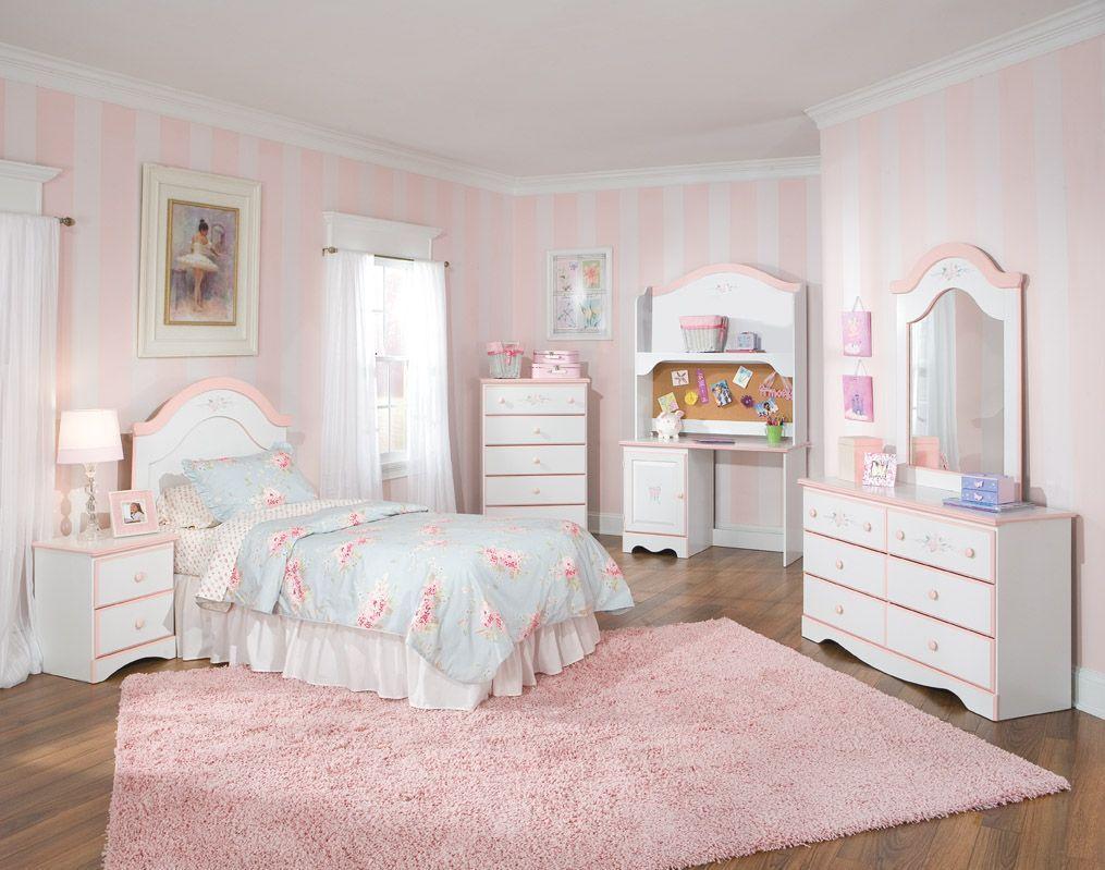 Sweet Dreams 5 Pc Bedroom Set W Twin Panel Headboard 59700 S1 Girls Bedroom Sets Girly Bedroom Girls Bedroom Furniture White beautiful kids room