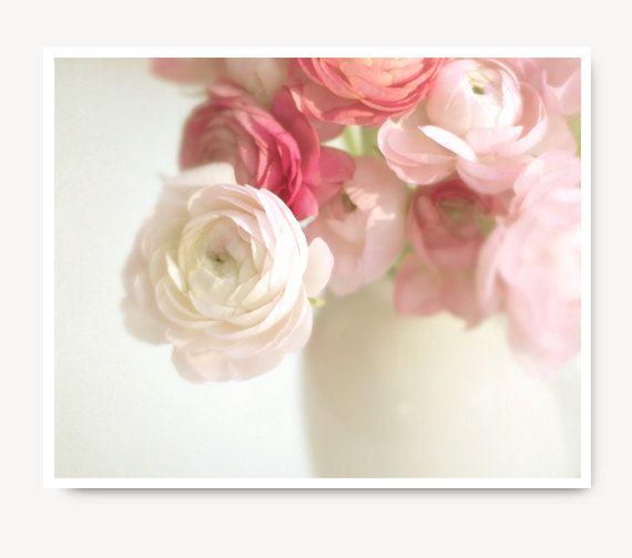 Pink Ranunculus Photo Flower Print Shabby Chic Cottage Etsy Flowers Photography Pink Artwork Flower Photos