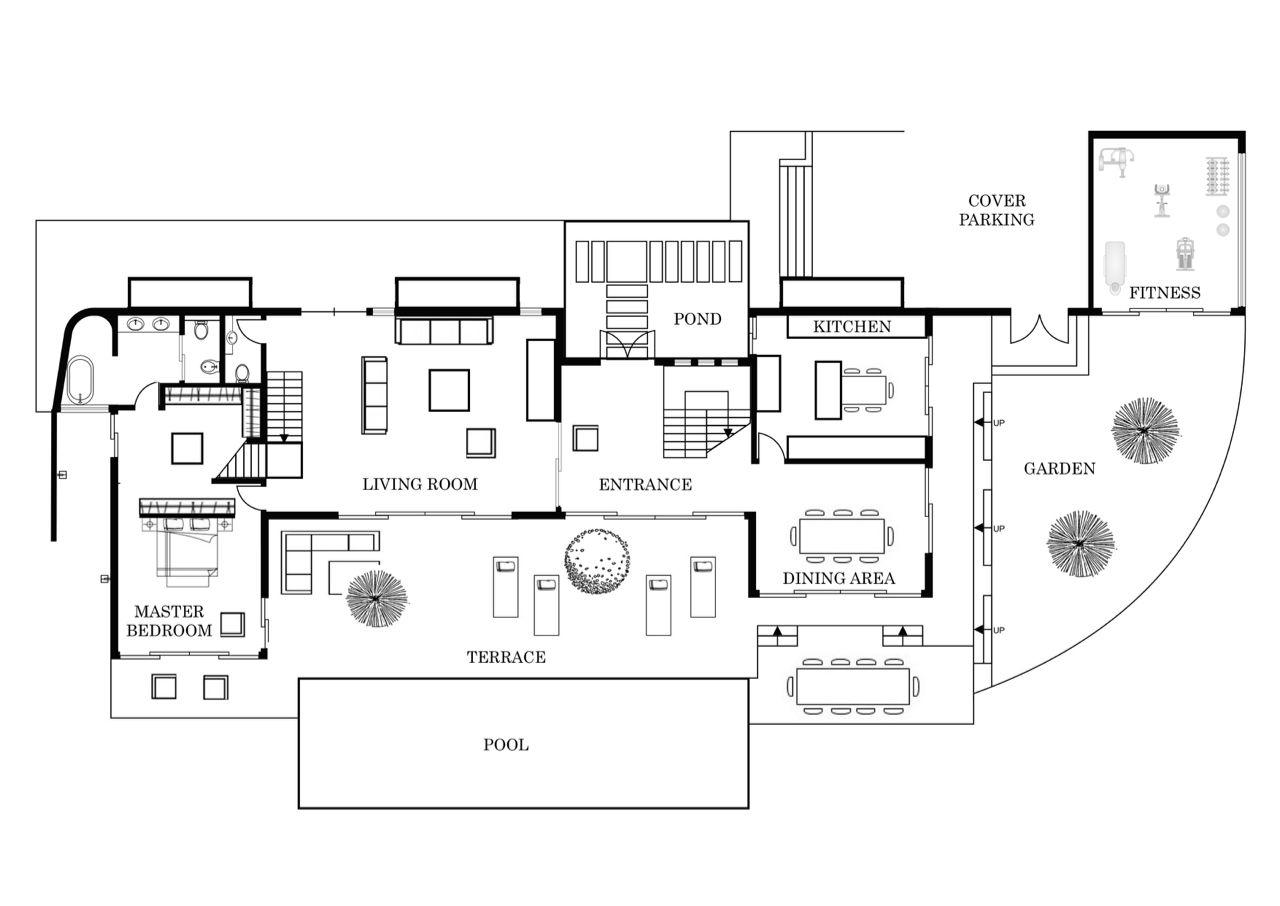 Villa Kalipay Ground Level Floor Plan Villa Plan Floor Plans French Villa