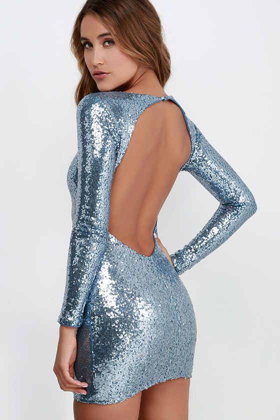 Short Long Sleeve Silver Sequin Dress by Dave and Johnny ...