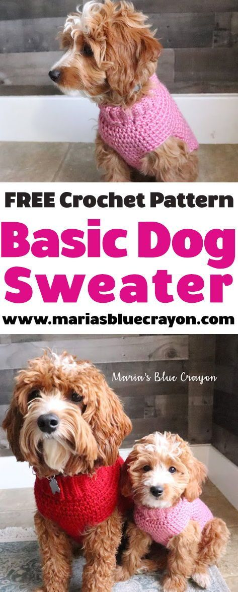 Crochet Basic Dog Sweater - Free Step by Step Tutorial #dogcrochetedsweaters