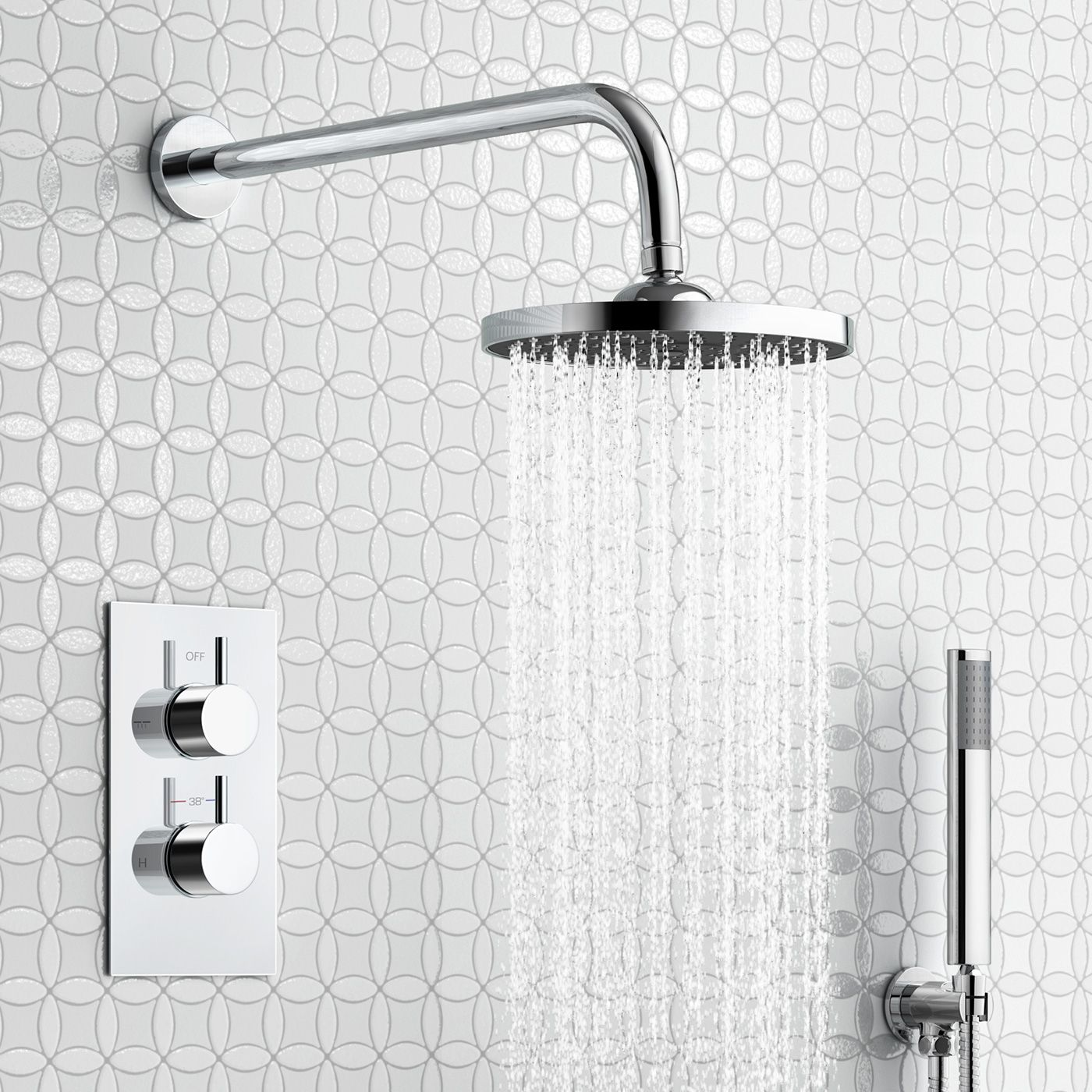 200mm Round Wall Mounted Head, Handheld & Thermostatic Mixer Shower ...