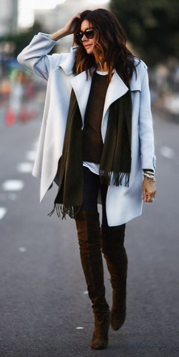 Deep earth tones + sensational contrast + luxurious white cashmere coat + Abundant silver jewelry + sophisticated boho vibe + Erica Hoida.  Scarf and Coat: Burberry