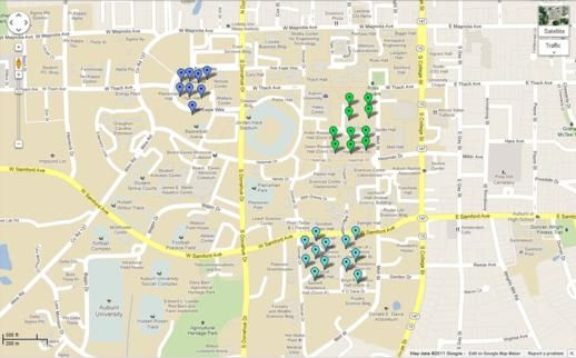 Auburn University Dorms And Residence Halls Map Click The Map For