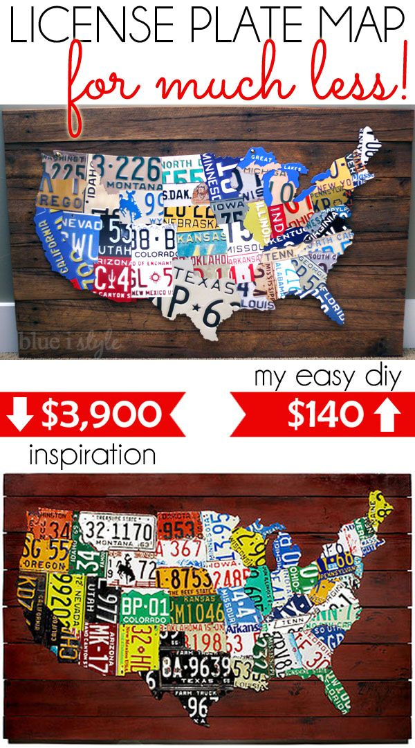 A License Plate Map On A Budget License Plate Art Creative Plate Crafts