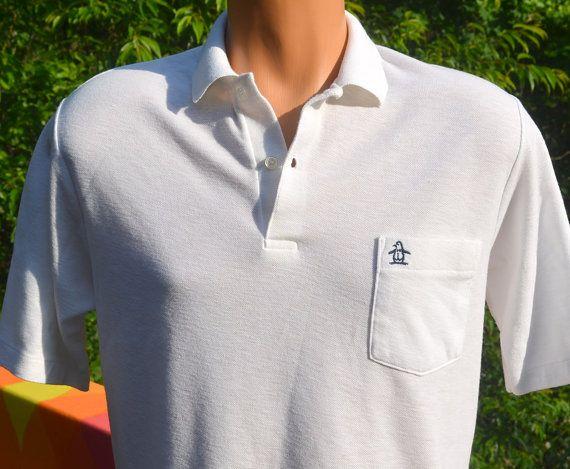 Vintage 70s Golf Shirt Polo Penguin Pocket Grand Slam Munsingwear Medium Small White 80s Golf Shirts Shirts Vintage Polo