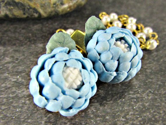 Blue Ceramic Rose Sweater Clip, Sweater Guard, Cardigan / Collar Clip, Pearl Sweater Chain, Gold / Silver, Vintage 1950s Rockabilly Jewelry by RedGarnetStudio