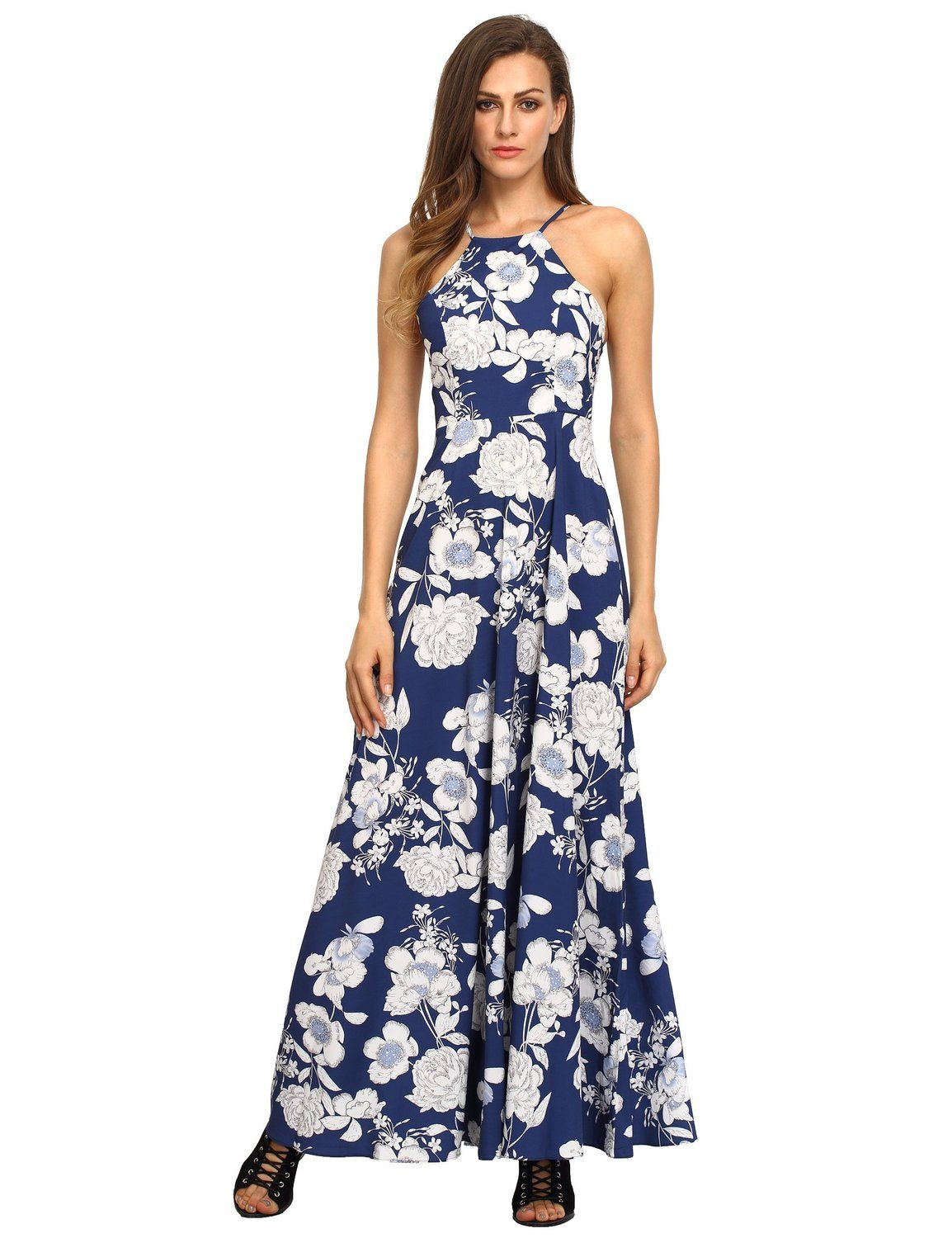 Floerns women 39 s sleeveless halter neck floral print for Print maxi dress for wedding