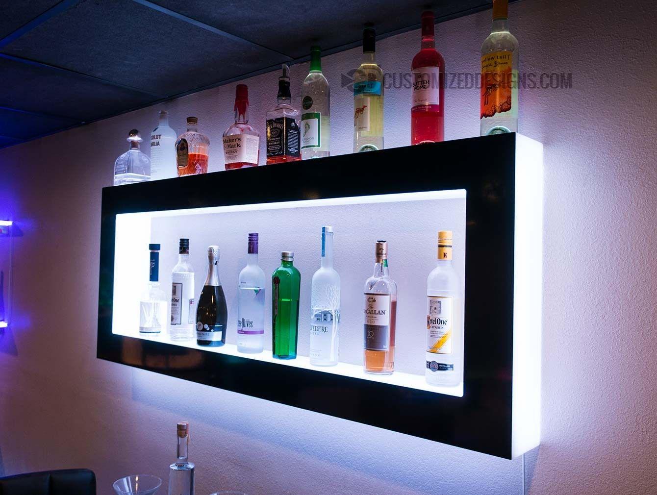 Lighted Back Bar Wall Display Shelves Led Lighting Modern Design In 2020 Wall Bar Diy Home Bar Home Bar Designs