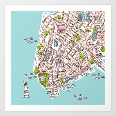 image about Printable Map of Lower Manhattan Streets titled Entertaining Contemporary York Metropolis Manhattan road map case in point Artwork