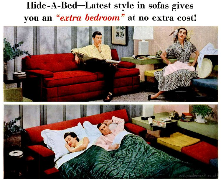 """World's smartest sofa hides the world's most comfortable bed!"" These Hide-A-Bed ads by Simmons date from 1947 to 1956."