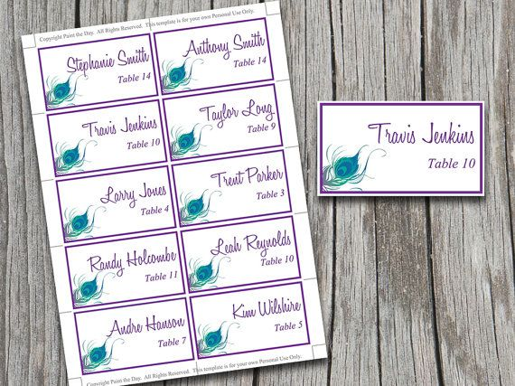 Wedding Place Cards Template  Purple Peacock Blue Green Table
