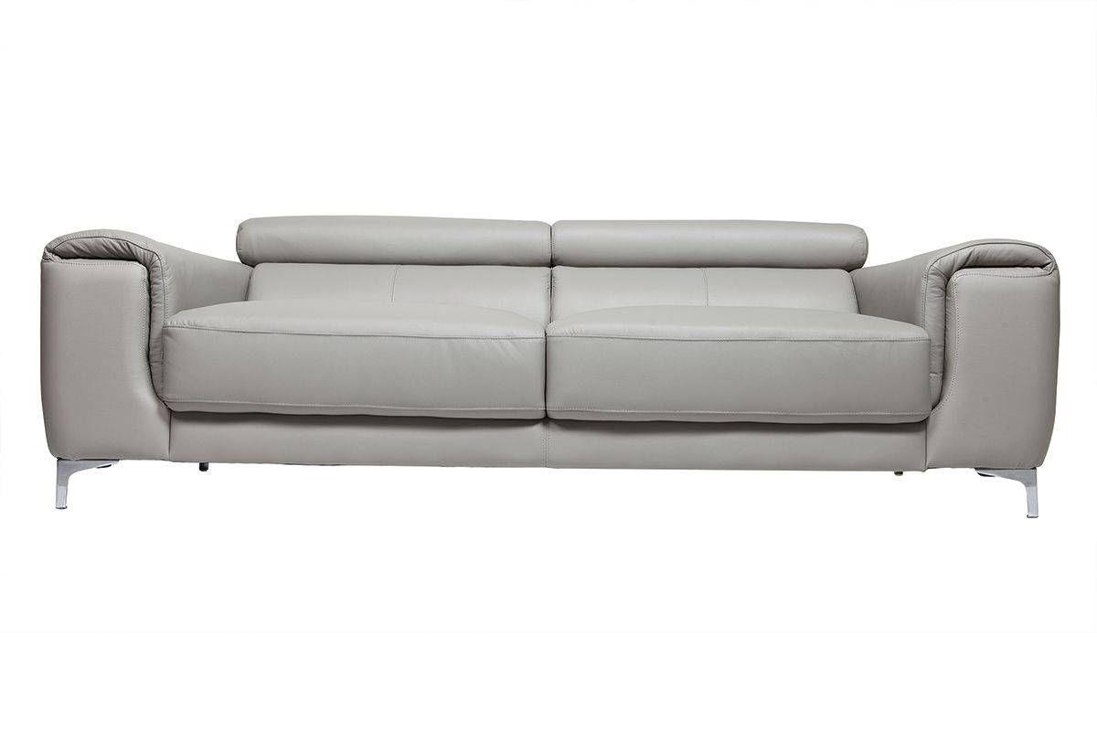 Sofá cuero diseño tres plazas con cabeceros relax gris NEVADA | SOFA ...