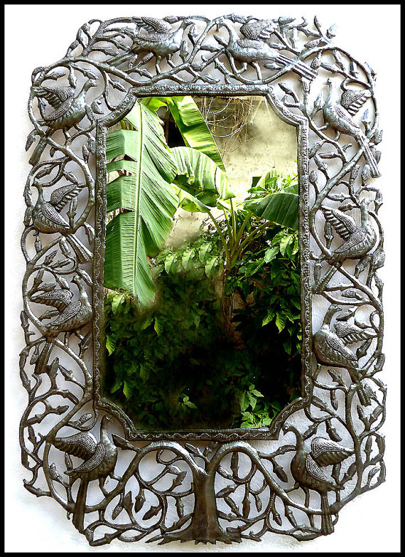 Metal Mirror, Wall Hanging - Birds / Leaves, Metal Wall Mirror, Wall ...