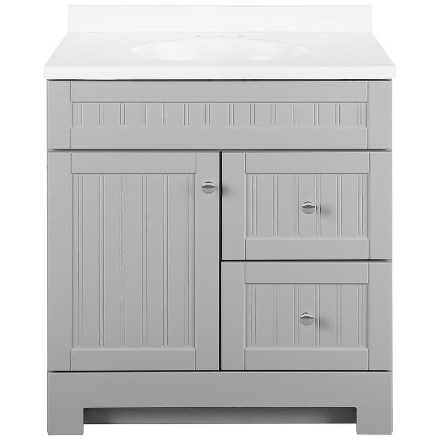 Style Selections Ellenbee 30 5 In Gray Single Sink Bathroom Vanity With White Cultured Marble Top Lowes Com In 2020 Bathroom Sink Vanity Grey Bathroom Vanity Lowes Bathroom Vanity