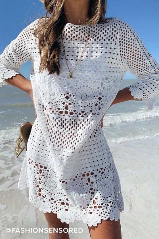Willow Off White Crochet Swim Cover-Up #crochetdress